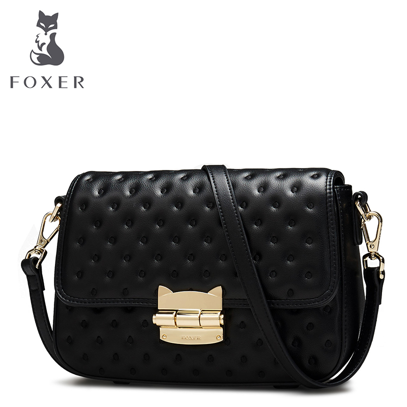 FOXER Women Crossbody Bags Leather Shoulder Bag For Female Luxury Messenger Bag Brand Fashion Hasp Flap Valentines Day Gift
