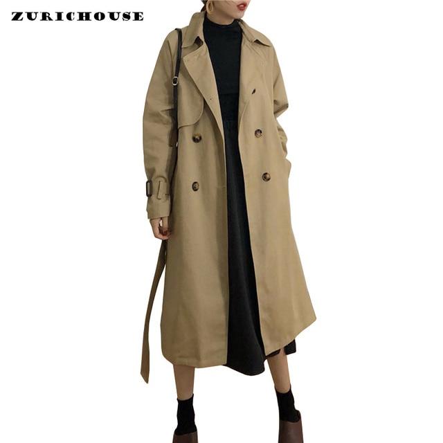 Klasik Haki Kruvaze Trençkot kadın kıyafetleri 2019 Yeni Boy Bahar Uzun Ceket Kadın Rüzgarlık Ile Kemer