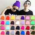 Hot Selling Unisex Women Men Winter Hat Snap Back Muts Knit Hip Hop Beanie Warm Cap Bonnet femme Solid Color Cheap