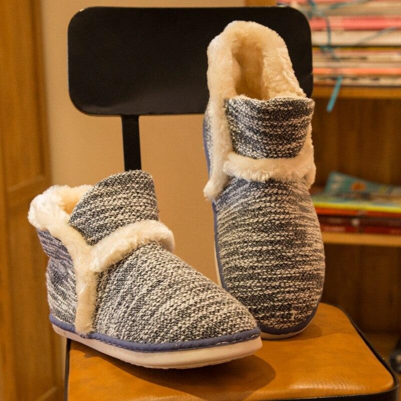 Winter Warm Home Slippers Adult Men And Women Household Slipper Soft Non-Slip Short Plush Indoor Floor Shoes