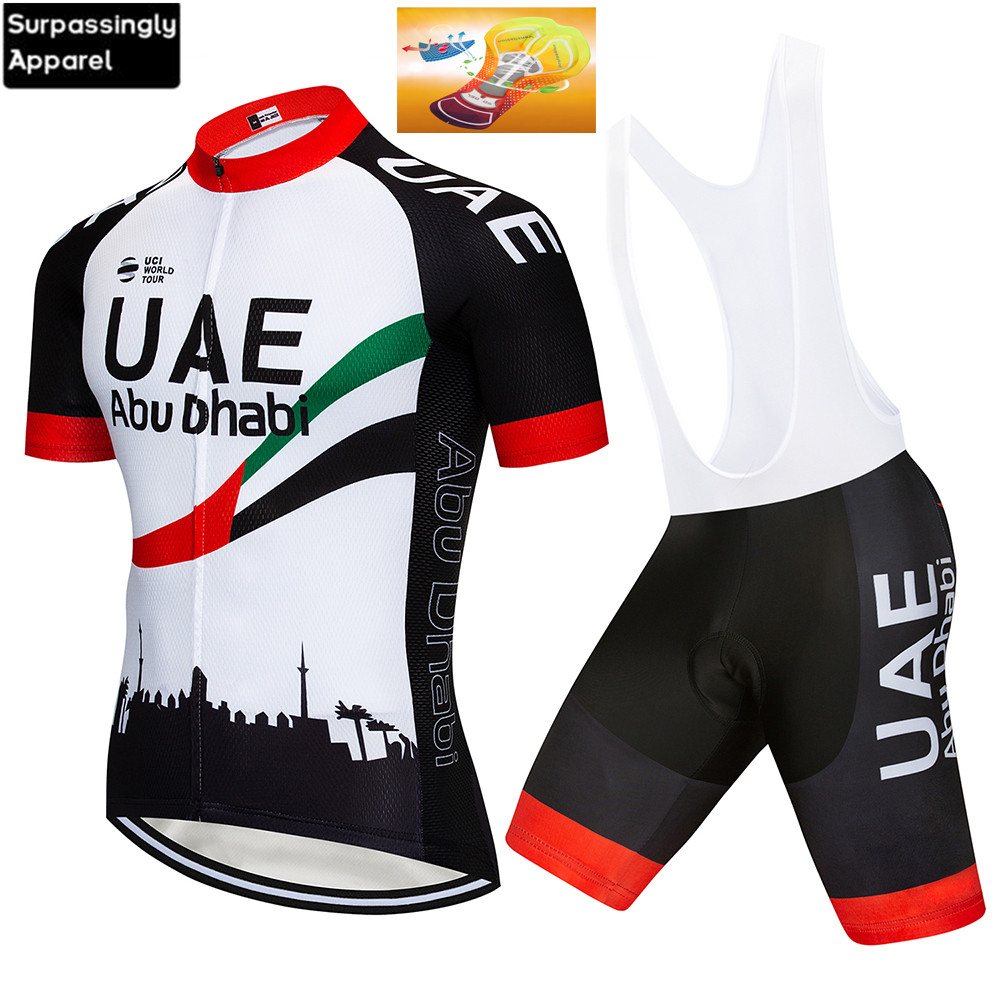 Pro UAE Cycling Set <font><b>Bike</b></font> <font><b>Wear</b></font> Men Bicycle Riding Clothes Ropa Ciclismo Breathable Quick Dry Cycling Jersey BIB Short 16D Gel Pad image