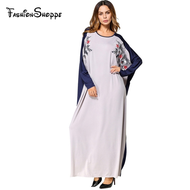 47b2067d0744a US $24.8 |Casual Muslim Maxi Dress Embroidery Abaya Batwing Sleeve Loose  Style Robe Middle East Moroccan Ramadan Arab Islamic Clothing-in Islamic ...