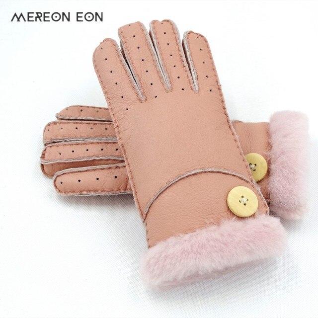636302072f6198 Frauen handschuhe winter warme warme mode schaffell eine verdickung finger  atmungs schaffell hand-genäht handschuhe