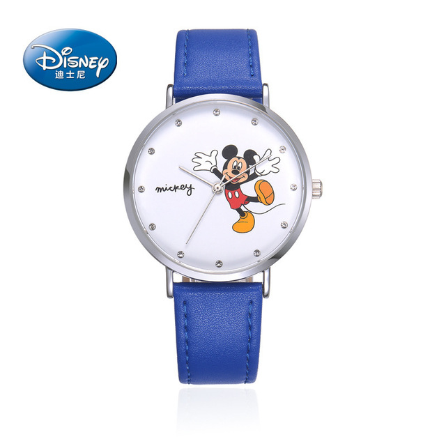 Disney brand children boys wrist watch Fashion Student Boy Mickey Watch waterproof Diamond Genuine Leather quartz child clocks