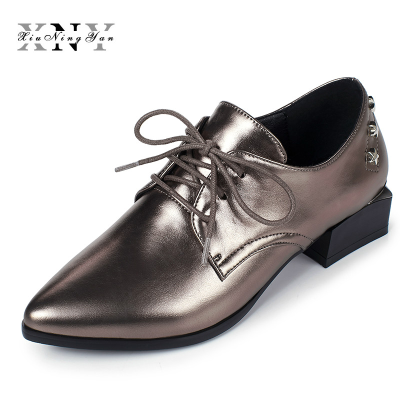 Spring Autumn Lace Up Casual Thick Low Heel Brogues Shoe Woman Oxford Shoes EUR Size 34-40 Vintage Patent Leather Flats Women's  big size eur 34 50 thick heels round toe single shoes spring autumn high heel women shoes fashion pumps lace up low shoes ox119