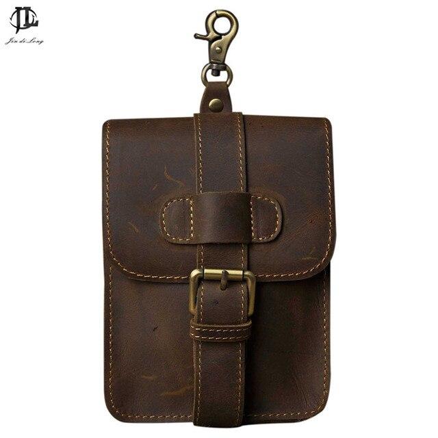 Retro Oil Wax&Crazy Horse Genuine Leather Mens Waist Bag Travel Fanny Pack Belt Loops Hip Bum Bag Wallet Purses Phone Pouch