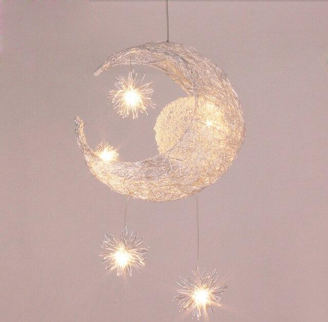 hanglampen kinderen kinderkamer verlichting led droplight lampen lantaarns van balkon lamp nest van sterren de maan