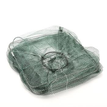 1 sztuk składana nylonowa siatka wędkarska złap kraba ryby Crawdad krewetki Minnow klatka z siatki przynęta na ryby pułapka obsada Dip Drift Shrimping Net tanie i dobre opinie GUOMUZI Multifilament Małe oczka Foldable Nylon Fishing Net 50cm Other Fyke netto river bottom Sieci rybackie 48cm length 20cm width