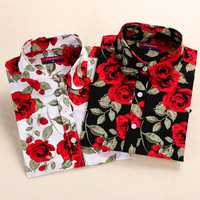 Dioufond Print new Women Long Sleeve Blouse Lipstick Floral Ladies Blouses Cotton Fashion Plus Size 5XL ladies Shirts