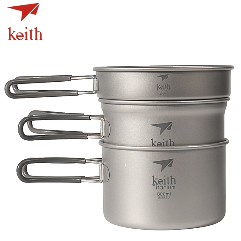 Keith Titanium Pots Set Outdoor Travel Tableware Camping Hiking Utensils Picnic Cookware 3Pcs Caldron & Medium Pot & Frying Pan keith double wall titanium beer mugs insulation drinkware outdoor camping coffee cups ultralight travel mug 320ml 98g ti9221