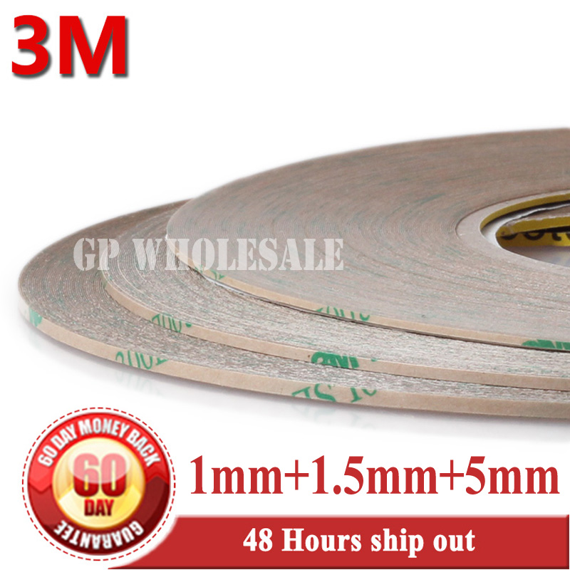 Strong 3M Mix 3 Rolls 1mm+1.5mm+5mm wide, 55Meters/Roll, High Bond Double Sided Adhesive Tape for HTC Samsung iphone LCD Display 2 rolls 1 5mm 2mm 50m strong adhesive 3m black double sided glue sticker for samsung galaxy nokia touch screen lcd dispaly
