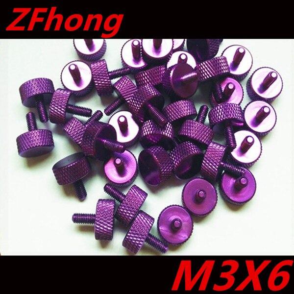 10pcs Purple Colour M3 6 Aluminum Knurled Thumb Hand