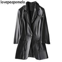 Кожаная куртка 2018 новых осенью и зимой дамы пальто Кожаная куртка Большие размеры семь очков с длинным рукавом кожаная куртка D196