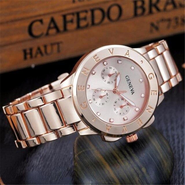 Women's Bracelet Watches Fashion Geneva Ladies Women Girl Unisex Stainless Steel Quartz Wrist Watch female Hot Worldwide
