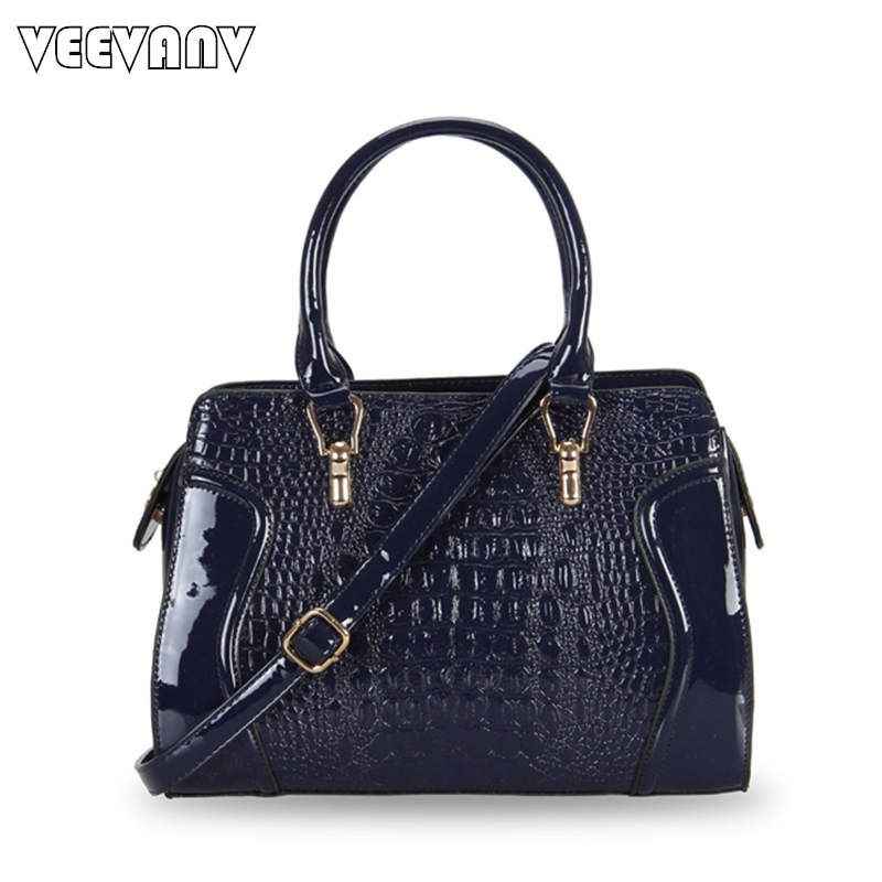 New Fashion Women Elegant Handbags Famous Crocodile Patent Leather Ladies Tote Bags Female Crossbody Shoulder Bag Bolsa Feminina 2018 yuanyu 2016 new women crocodile bag women clutches leather bag female crocodile grain long hand bag