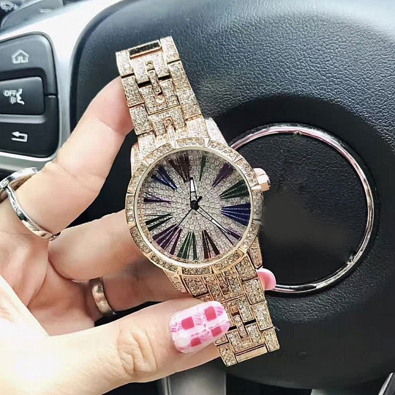 Luxury Women's Quartz Watches Roman Colorful Dial Rose Gold Wristwatches For Women Montre Femme Relogio Feminino Full Crystal