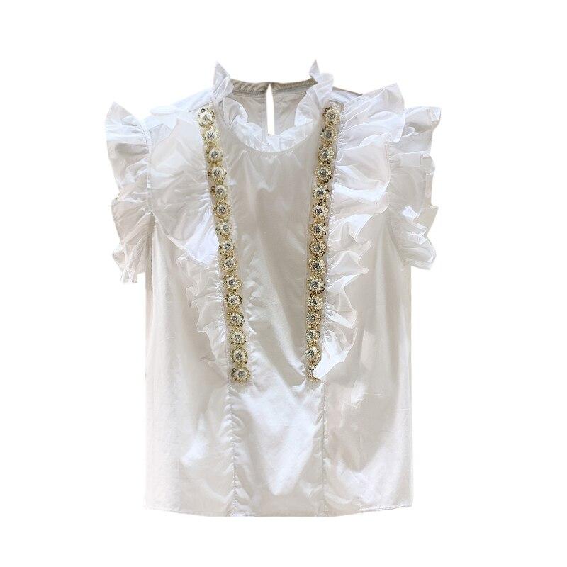 MUMUZI Short sleeved white shirt female ruffles beaded diamond chiffon shirt 2019 spring and summer new beading blouse tops in Blouses amp Shirts from Women 39 s Clothing