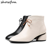 Women's genuine leather ankle boots thick med heel comfortable autumn winter ankle boots warm plush cold weather boots shoes hot