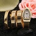 Wristwatches Quartz-Watches High-Grade Women's Watches Snake Shape Temperament Style Winding Bracelet Watch