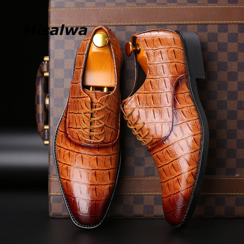 Misalwa Classic Men Shoes For Wedding Brand PU Leather Suit Easy Wear Men Pointed Toe Shoes Lace-Up Business Formal Dress Shoes