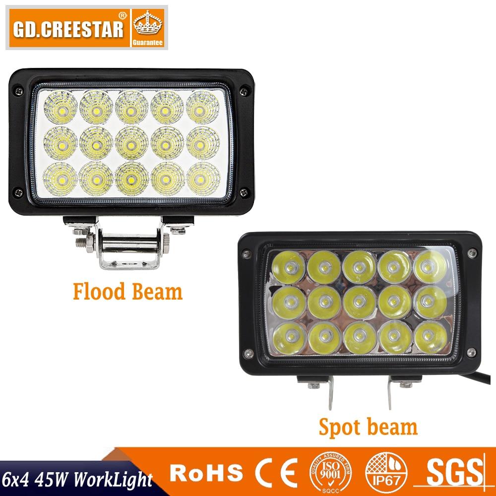 45W Düzbucaqlı 6x4 LED işığında işıqsız yol yol seli - Avtomobil işıqları - Fotoqrafiya 2