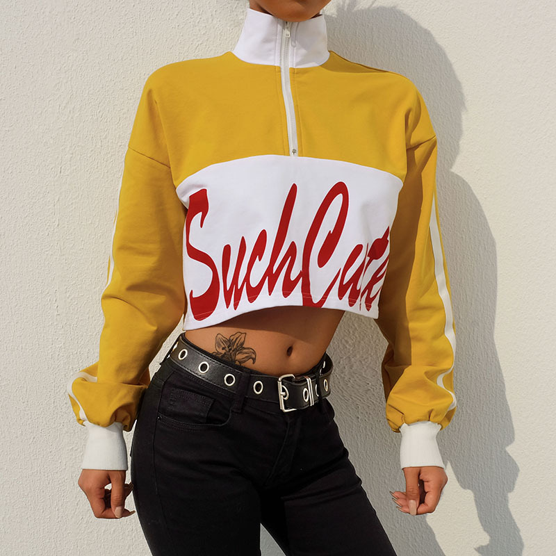 JSMY New Women 39 s Printing Contrast Color Lapels Exposed Navel Long Sleeve Sweatshirt in Hoodies amp Sweatshirts from Women 39 s Clothing