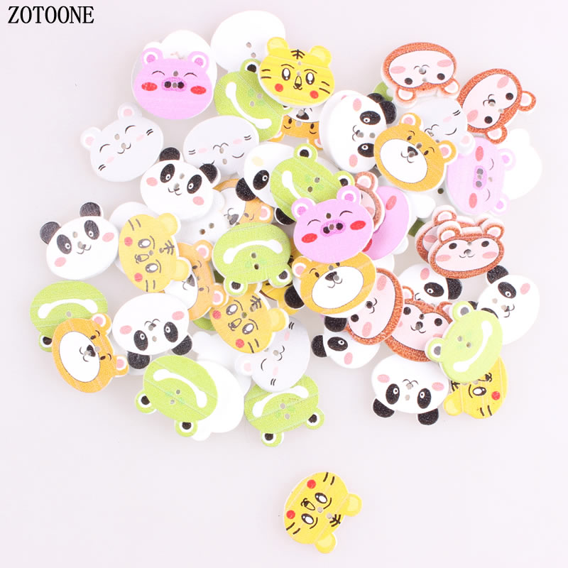 ZOTOONE 50pcs Mix Cute Animal Wooden Buttons Cat Panda Tiger Pig Sewing Buttons Craft  2 Holes Scrapbooking Products for Kids D button