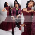 Sexy Longo Africano Vestido de Baile Querida Off The Shoulder Lace Tule Andar de Comprimento Real Da Amostra 2017 Borgonha Sereia Vestidos de Baile