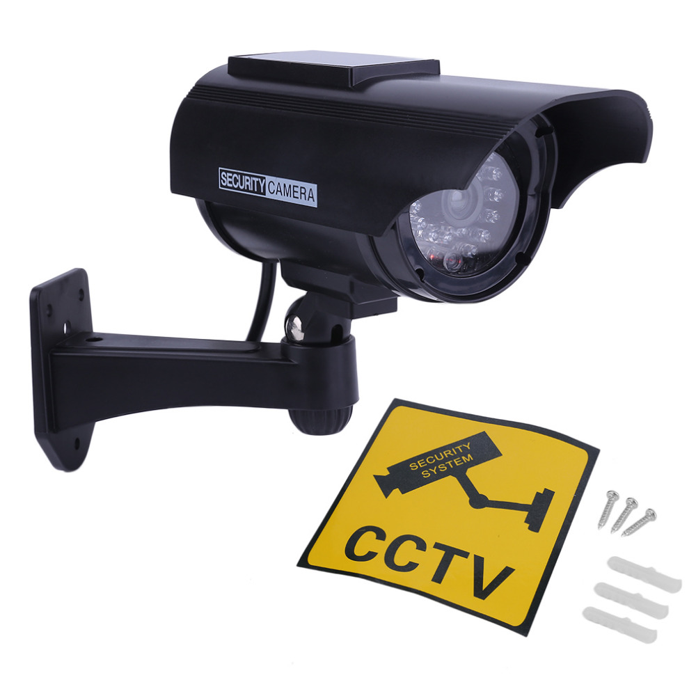 Solar Powered Fake Camera Indoor Outoodr Dummy Bullet CCTV Security Surveillance Camera with Blinking IR LED solar dummy security camera with blinking light silver