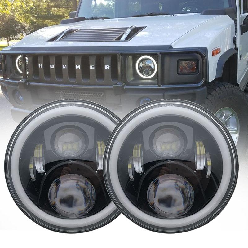 For Hummer H1 H2 Led Headlight 60w 7 Inch LED Headlights Hi Lo Beam Angel Eye