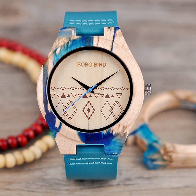 <font><b>Watch</b></font> Men Wooden relogio masculino BOBO BIRD Quartz Male Wristwatch Man with Leather Strap as Gift Customized Logo image