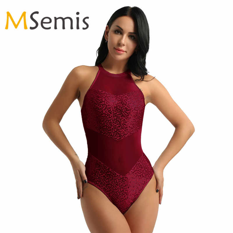 Women Gymnastic Swimsuit Ballet Leotard Girls Halter Neck Sequin Mesh Dance Bodysuit Professional Competition Dance Costumes