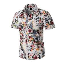 Short-sleeved Mens Shirts Flower Fashion printed Floral Blouse Men Casual Linen Red Green Beach style New 2019