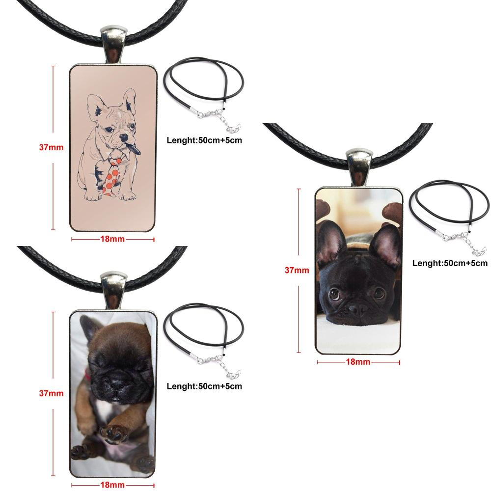 Amiable French Bulldog Boss For Lovers Best Friendship Fashion Glass Cabochon Pendant Rectangle Necklace Choker Necklace Jewelry To Clear Out Annoyance And Quench Thirst