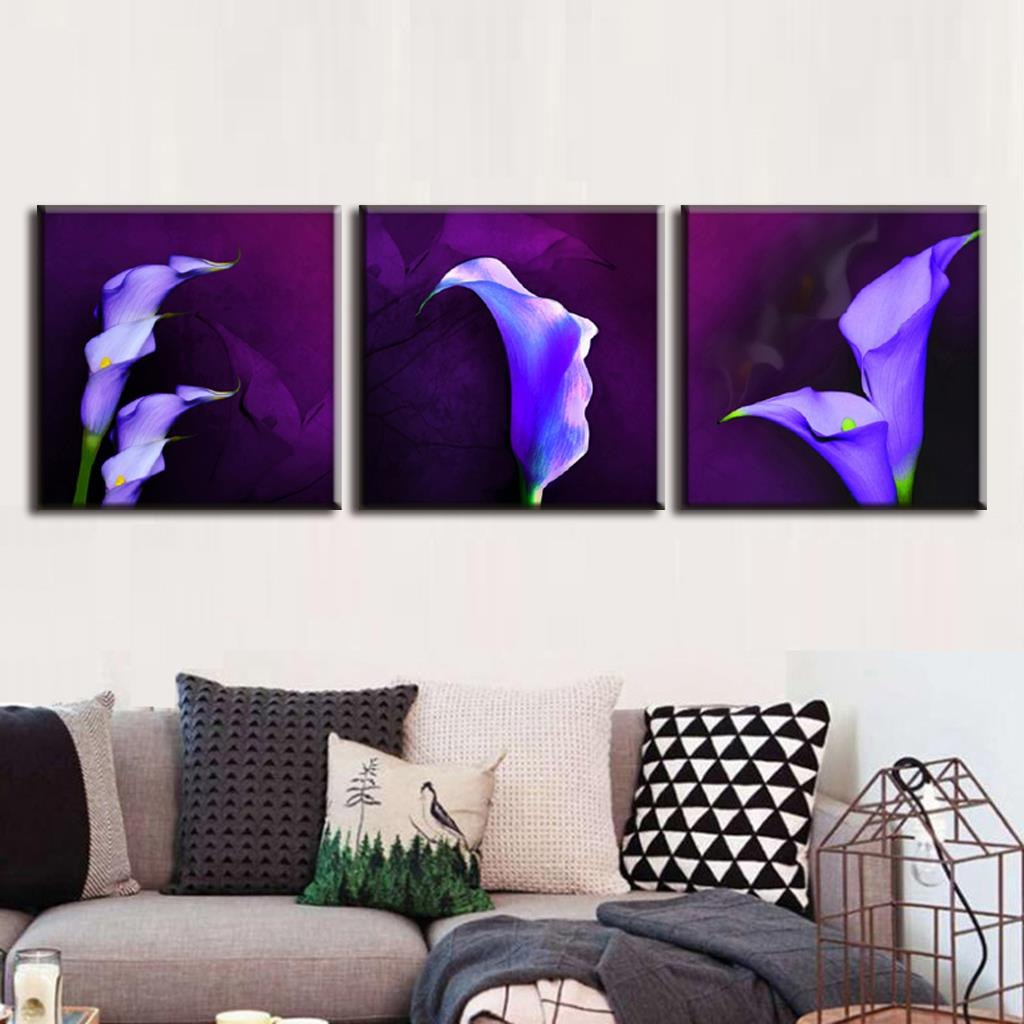 Modern 3 Pcsset Framed Purple Flower Painting Prints On Canvas Abstract Purple Calla Lily In Plum Pop Wall Art For Living Room In Painting