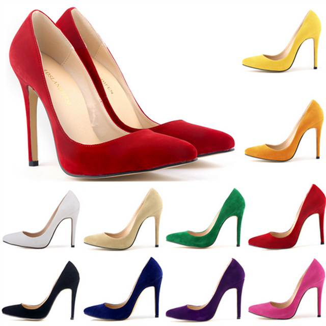 2017 Sexy Sude Leather High Heels Fashion Low Ladies Shoes Pointed Toe  Wedding Shoes Woman Pumps