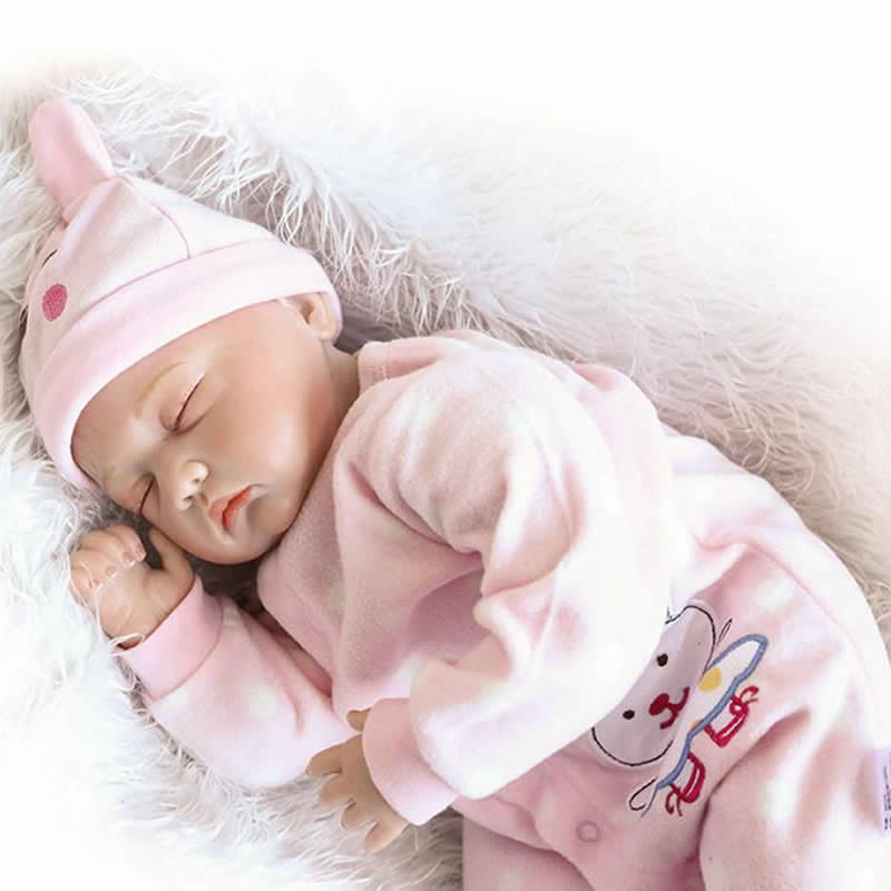 Children Birthday Xmas Best Gift 22 Inch Reborn Doll Baby Silicone Soft Cloth Body Princess Girl Babies With Pink Pajamas