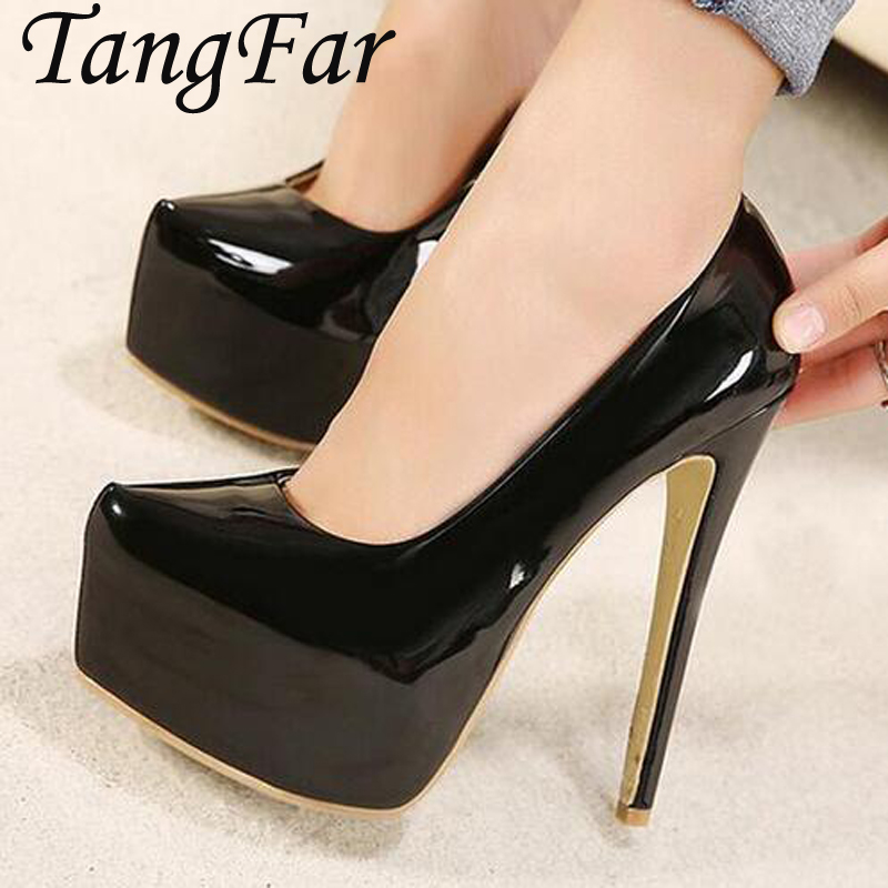 15CM Plus Size Shoes 44 43 Women Glitter Sexy Pumps Patent Leather Fashion Thin Heel Party Shoes Evening Heels plus large size spring office women pumps glitter pu leather thin spike high heel stiletto sexy autumn party gold ladies shoes