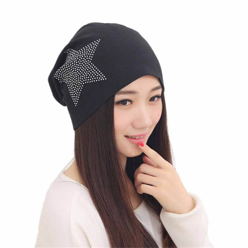 2017 Fashion Women Warm Winter Beanie Hat Bronzing Star Solid Cap Bonnet Femme Top Quality Quality And Quantity Assured