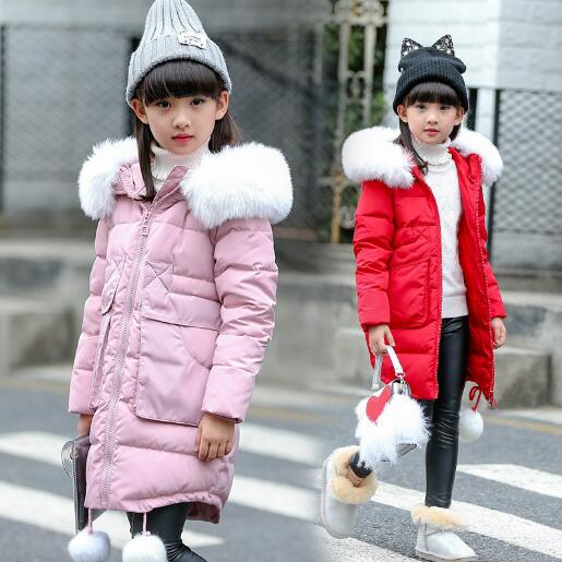 Teenage Girls Winter Long Padded Jacket Children Winter Coat Kids Warm Thick Fur Collar Hooded Down Coats For Girls 6 8 12 Years children jacket print flower thick warm faux fur coat kids pretty winter hooded button long jacket for girls autumn girls coat