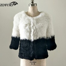 ZDFURS *New real Rabbit Fur Knitted  jacket handmade rabbit fur Outerwear Natural Rabbit Fur Coat  ZDKR-165036