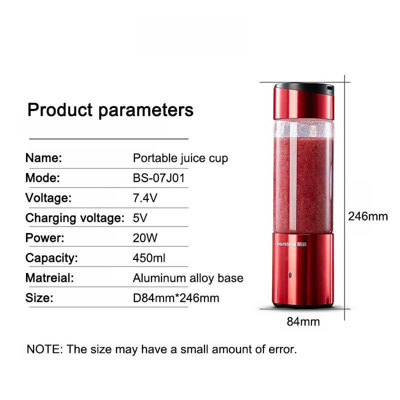 BARSONE 6 Lâminas Liquidificador Portátil usb 450 ml Portátil Garrafa Liquidificador Misturador Liquidificador Frutas Inteligente Recarregável de Alumínio Base de Liga