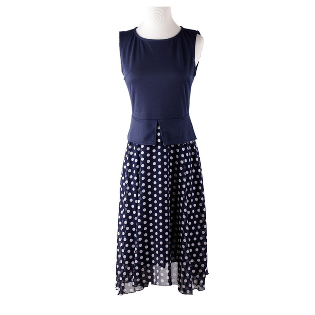764eb875b Vestido de verano 2016 azul marino de lunares Vestidos prendas de vestir dama  Casual vestido estampado