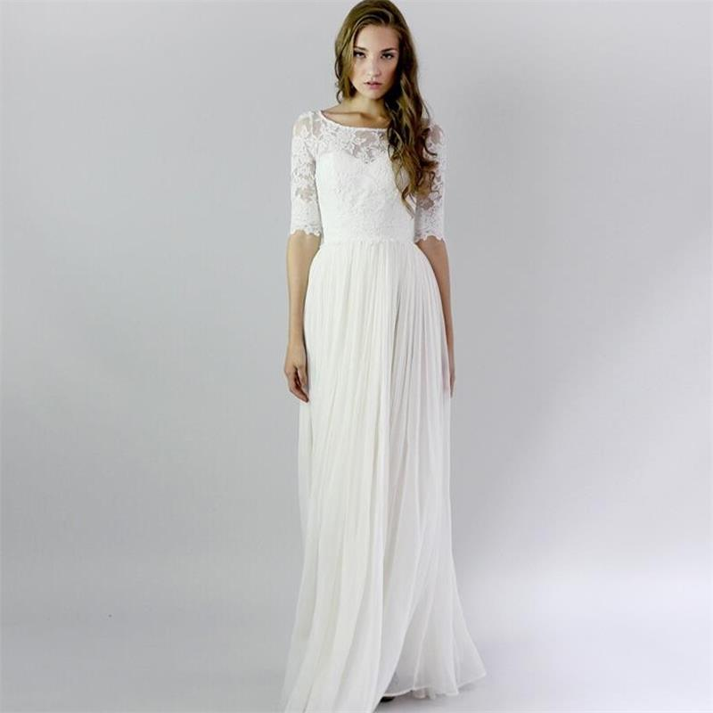 Half Sleeve Long White Vintage Lace Beach Summer Wedding Dresses 2016 Plus Si