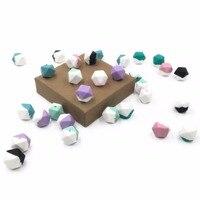 12 unidades/pacote DIY Silicone Dentição BPA Livre Cor Misturada Hexágono Beads para Pulseira e Colar Acessórios Do Bebê Mamãe Atacado