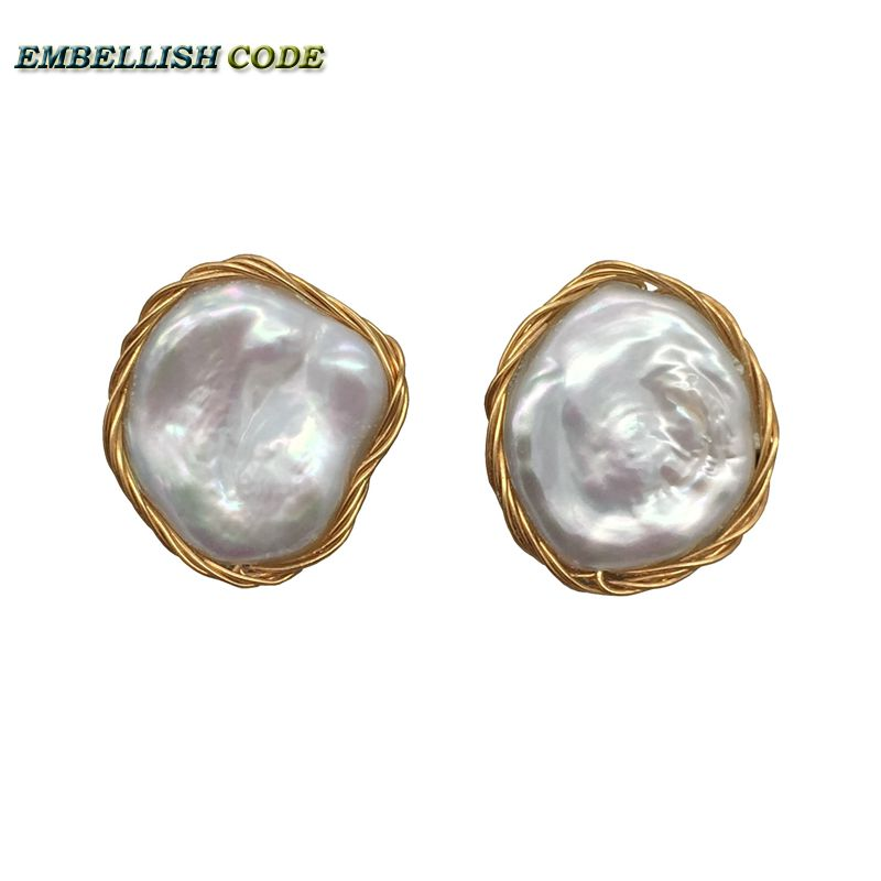 2018 NEW AB style Design Hand made jewelry elegant Irregular pearl golden color flat flower real natural pearls stud earrings