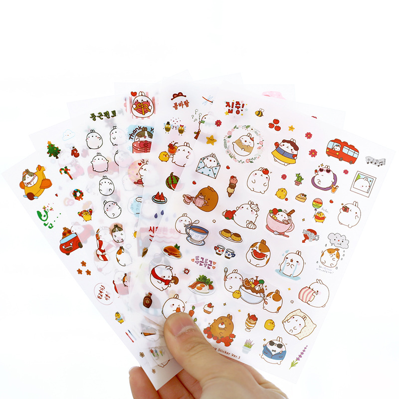 6 Pcs / Pack New Korea Creative Cartoon Potato Rabbit I Series Kawaii Pvc Sticker In The Third Quarter Potatoes Rabbit