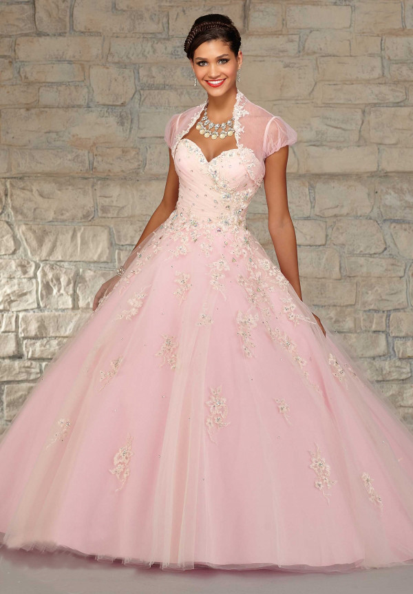 Light Pink Sweet 16 Dresses Quinceanera Gowns Beading Vestidos De Quinceaneras 2015 With Embroidery And Jacket (4)