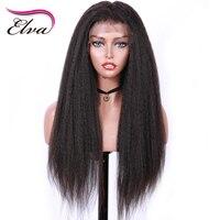 Elva ВОЛОС 180% плотность 360 кружева фронтальной парик для Для женщин яки прямо предварительно сорвал волосяного покрова отбеленные узлы брази