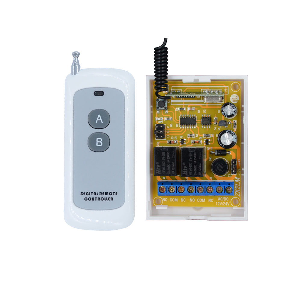 DC 12V 2CH 24V 10A Relay Wireless Remote Control Switch System Receiver Transmitter For Door Access Control LED Lamp dc 12v 2ch rf wireless remote control switch system teleswitch 1 receivers and 3 transmitter fixed code access system